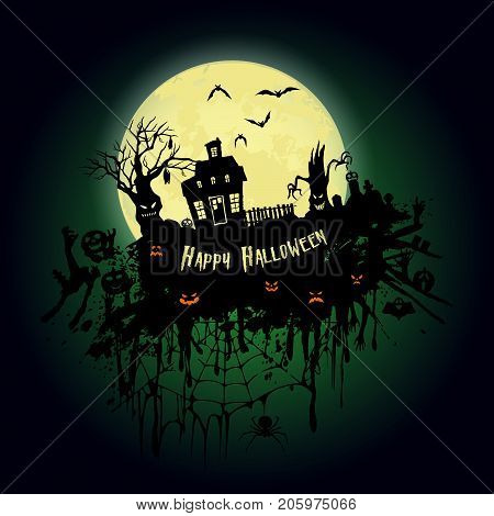Halloween Party. Old House, Creepy Trees And A Full Moon. Halloween Poster. Vector Illustration.