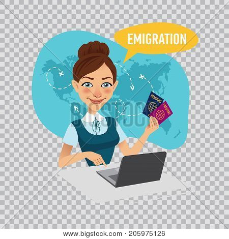 Woman sitting at table in office and working on laptop. Employee of company prepares visas for immigrants. Emigration concept. Illustration on transparent background.