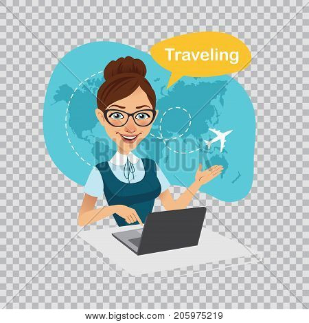 Trip to World. Travel to World. Vacation. Travel agency banner. Woman sitting at table in office. Travel agent working on laptop. Illustration on transparent background.