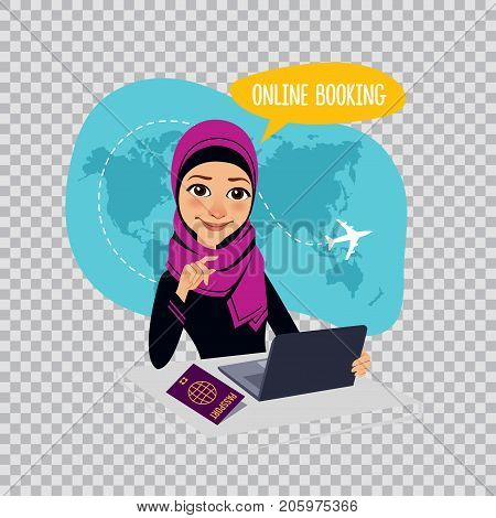 Online booking banner on transparent background. Online booking service. Air Tickets Online Booking. Online Flight Booking. Arab woman sitting at table in office. Travel agent selling airplane tickets