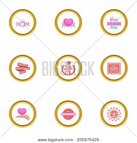 Happy mama day icons set. Cartoon style set of 9 happy mama day vector icons for web design