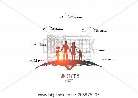 Immigration concept. Hand drawn family emigrates to united states. People in front of American flag isolated vector illustration.