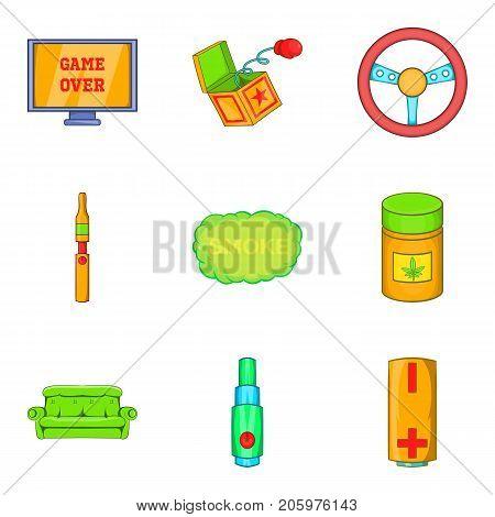 Drug icons set. Cartoon set of 9 drug vector icons for web isolated on white background