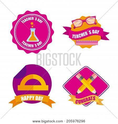 set of teachers day celebration badge decoration vector illustration