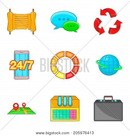 Schedule icons set. Cartoon set of 9 schedule vector icons for web isolated on white background