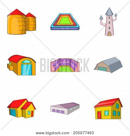 Manufactory icons set. Cartoon set of 9 manufactory vector icons for web isolated on white background