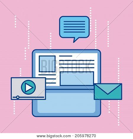 laptop communication mesage email video player digitalmedia vector illustration