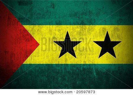 Weathered Flag Of Sao Tome and Principe, fabric textured
