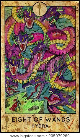 Hydra. Eight of wands. Fantasy Creatures Tarot full deck. Minor arcana. Hand drawn graphic illustration, engraved colorful painting with occult symbols