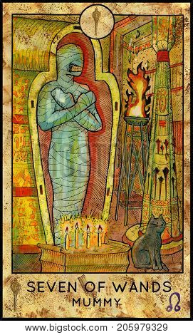 Mummy. Seven of wands. Fantasy Creatures Tarot full deck. Minor arcana. Hand drawn graphic illustration, engraved colorful painting with occult symbols. Halloween background