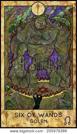 Golem. Six of wands. Fantasy Creatures Tarot full deck. Minor arcana. Hand drawn graphic illustration, engraved colorful painting with occult symbols