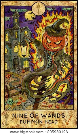 Pumpkin Head. Nine of wands. Fantasy Creatures Tarot full deck. Minor arcana. Hand drawn graphic illustration, engraved colorful painting with occult symbols. Halloween background
