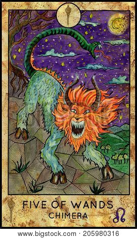 Chimera monster. Five of wands. Fantasy Creatures Tarot full deck. Minor arcana. Hand drawn graphic illustration, engraved colorful painting with occult symbols. Halloween background