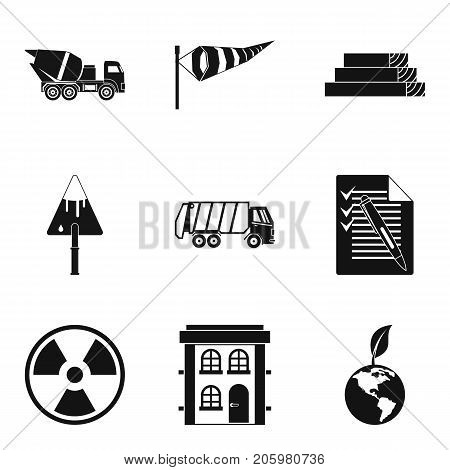 Eco building icons set. Simple set of 9 eco building vector icons for web isolated on white background