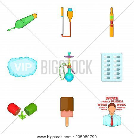 Smoking grass icons set. Cartoon set of 9 smoking grass vector icons for web isolated on white background