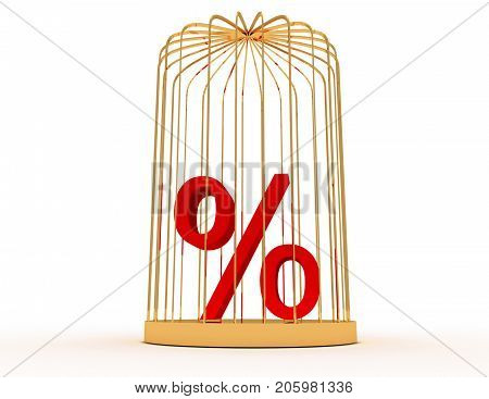 3d percent in cage . 3d rendered illustration