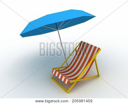 3d sunlounger concept . 3d rendered illustration