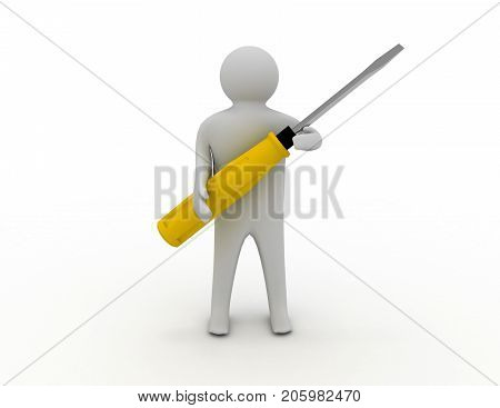 3d man with screw-driver . 3d rendered illustration