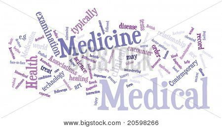 Medecine word cloud illustration. Graphic tag collection.