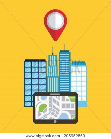 navigation device app city buildings pointer map vector illustration