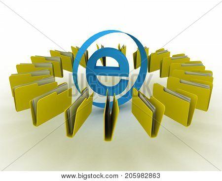 internet sign with folders . 3d rendered illustration