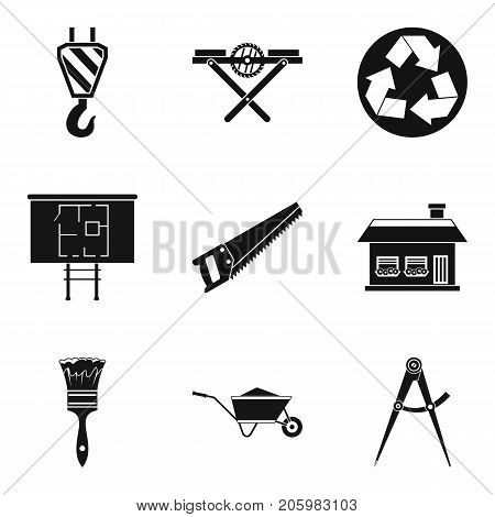 Construction material icons set. Simple set of 9 construction material vector icons for web isolated on white background