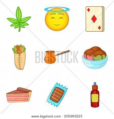 Diabetes icons set. Cartoon set of 9 diabetes vector icons for web isolated on white background
