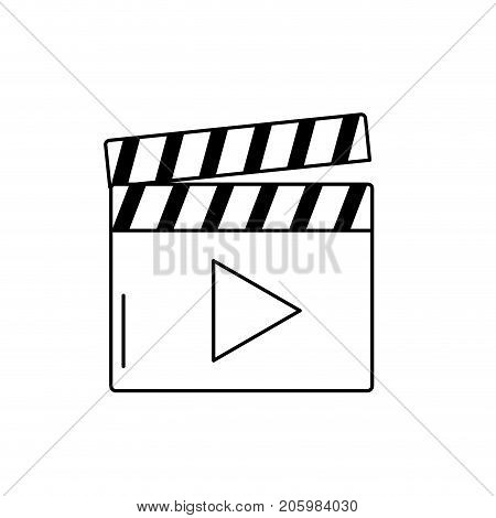 line clapperboard with video movie studio icon vector illustration