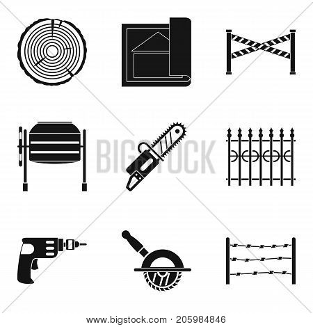 Building material icons set. Simple set of 9 building material vector icons for web isolated on white background