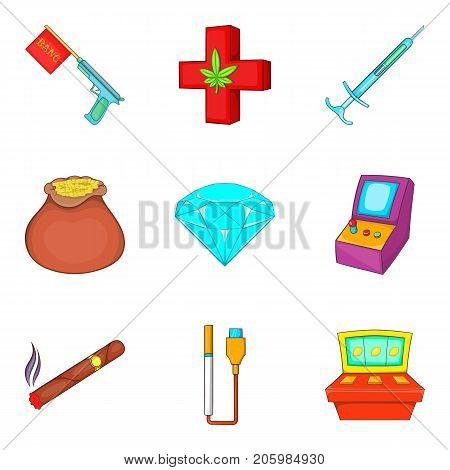 Addiction habit icons set. Cartoon set of 9 addiction habit vector icons for web isolated on white background