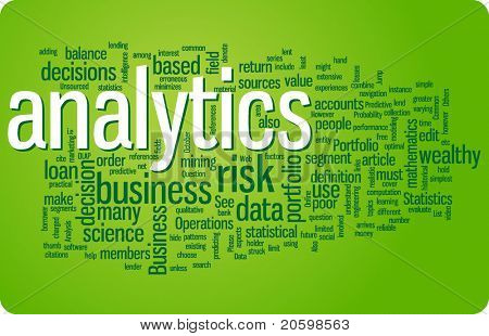 Analytics word cloud illustration. Graphic tag collection