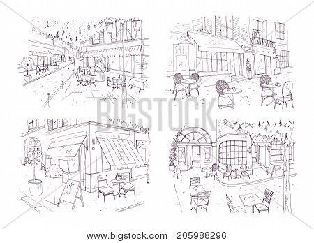 Collection of freehand sketches of outdoor cafe or restaurant with tables and chairs standing on city street beside buildings and trees. Monochrome vector illustration hand drawn with contour lines