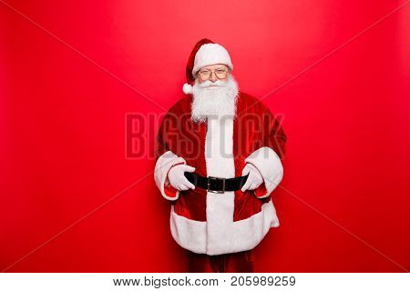 Have A Holly Jolly X Mas! Gifts For Kids! Festive Seosonal  Occasion. Funny Santa Claus Wearing Red