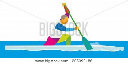strong young athlete a rowing man in a canoe