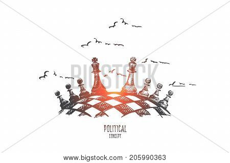 Political concept. Hand drawn chess board as symbol of political game. Black and white chess figures isolated vector illustration.