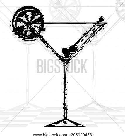 white background and dark abstract glass of cocktail