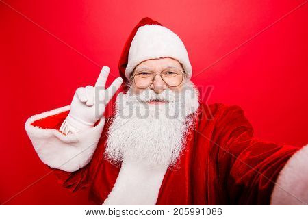 Taking Holly Jolly X Mas Festive Memories. Funny Saint Nicholas Photographer In Red Traditional Outf