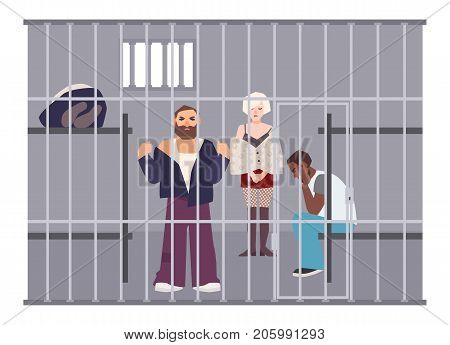 Criminals in cell at police station or jail. Prisoners locked up in room with metal grid. Offenders or arrested people in detention center. Flat cartoon characters. Colorful vector illustration