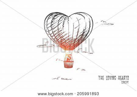 The loving hearts concept. Hand drawn man and woman in love. Loving couple flying on balloon isolated vector illustration.