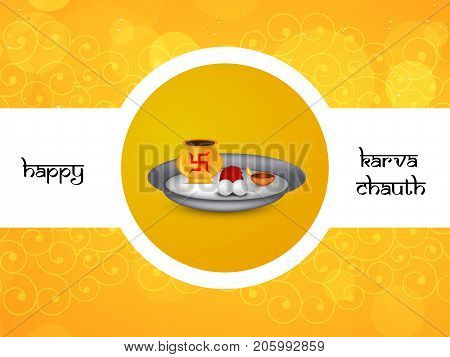 illustration of Saucer and swastik a symbol of Hinduism with happy Karva Chauth text on the occasion of Hindu Festival Karva Chauth