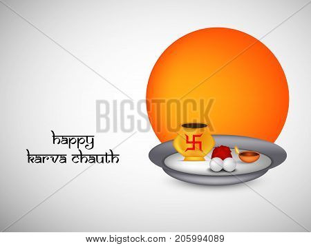 illustration of saucer and swastik symbol of hinduism with happy Karva Chauth text on the occasion of Hindu Festival Karva Chauth