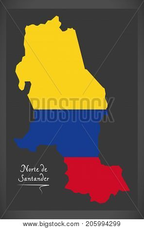 Norte De Santander Map Of Colombia With Colombian National Flag Illustration