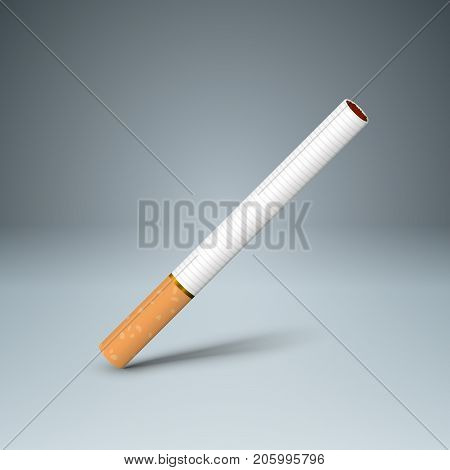 Business illustration of a cigarette and harm. Vector, eps 10.