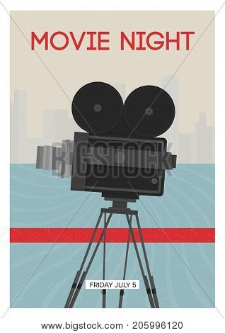 Modern poster or flyer template for movie night, premiere or cinema festival show time with retro film camera or projector standing on tripod. Colorful vector illustration for event announcement