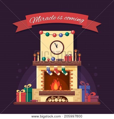Christmas fireplace with gifts, clock and candle. Colorful festive interior for greeting card in flat style. Xmas home decoration - stock vector illustration.