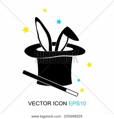 Magic trick-rabbit in the hat of the master. rabbit in black hat cylinder. A flat icon. Sign. Vector. Logo. Vector illustration.