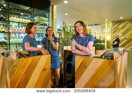 SAINT PETERSBURG, RUSSIA - CIRCA AUGUST, 2017: staff at Marketplace restaurant at Galeria shopping center. Galeria is major shopping and entertainment center is located in downtown of St. Petersburg