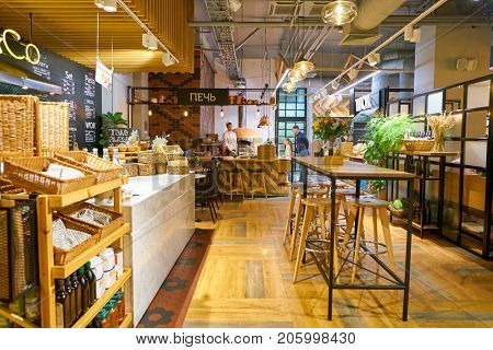 SAINT PETERSBURG, RUSSIA - CIRCA AUGUST, 2017: inside Marketplace restaurant at Galeria shopping center. Galeria is major shopping and entertainment center is located in downtown of St. Petersburg
