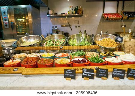 SAINT PETERSBURG, RUSSIA - CIRCA AUGUST, 2017: food on display at Marketplace restaurant at Galeria shopping center.