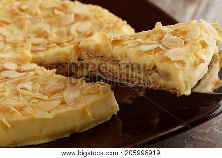 Slice of Swedish almond cake